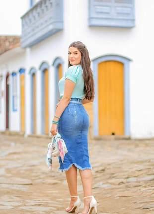Saia jeans midi assimétrica destroyed joyaly moda evangelica