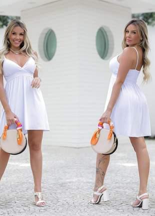 Vestido curto branco de alcinha ano novo