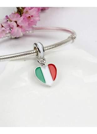 Charm berloque pingente bandeira itália compatível com pulseira vivara ou pandora