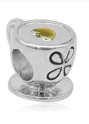 Charm berloque xicara de café compatível com pulseira bracelete vivara ou pandora