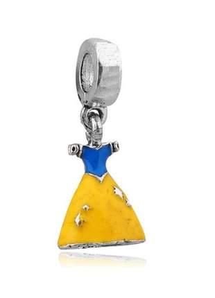 Charm berloque pingente vestido branca de neve compatível com pulseira vivara ou pandora