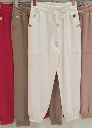 Calça jogger social feminina alfaiataria com botões branco