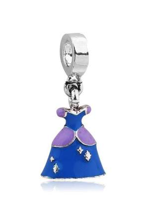 Charm berloque pingente vestido cinderela compatível com pulseira vivara ou pandora