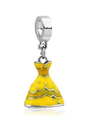 Charm berloque pingente vestido bela compatível com pulseira vivara ou pandora