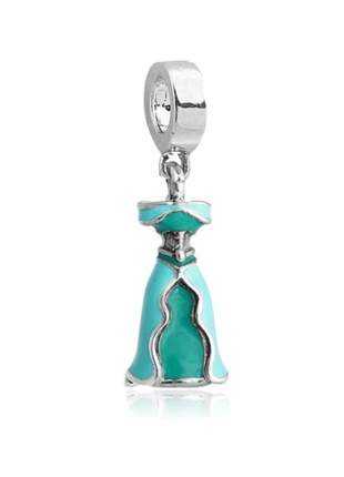 Charm berloque pingente vestido jasmine compatível com pulseira vivara ou pandora