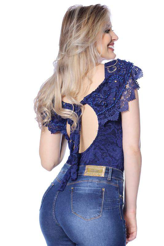 9a44ea735 Body feminino zigma bordado azul - R  109.90 (com renda)  8288 ...