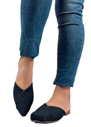 Sapatilha mule bico fino jeans folha