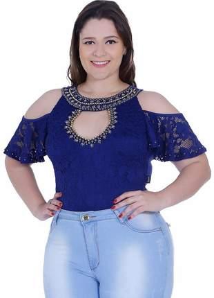 Body feminino zigma ombro nu plus size azul