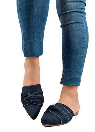 Sapatilha mule bico fino jeans laço