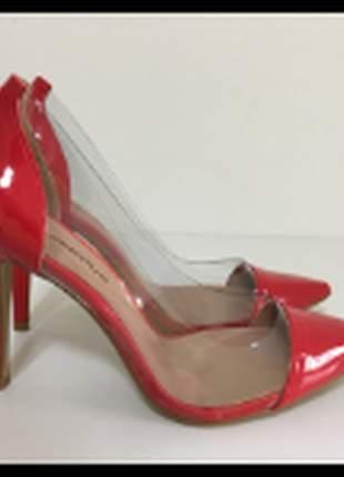 Sapato scarpin ferrari vinil transparente