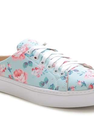 Tênis sapatilha slip on confotável feminino- azul floral