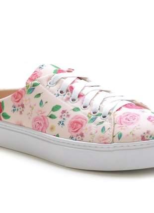 Tênis sapatilha slip on confotável feminino- rosa floral