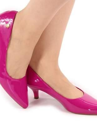 Scarpin rosa salto baixo total confort