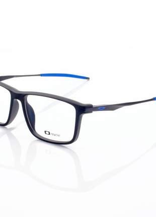 Armacao de óculos retangular oakley cobalt ox3218 preta e azul