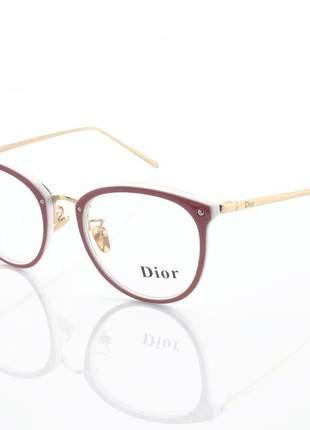 Armação de óculos redonda feminina dior 2334 cd champagne e branco