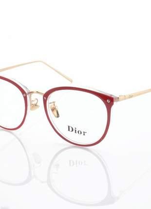 Armação de óculos redonda feminina dior 2334 cd vermelho