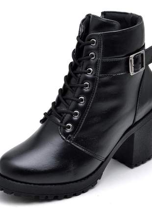 Coturno fivela bota feminina couro legítimo salto tratorado