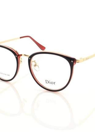 Armação de óculos redonda feminina dior 2334 cd azul e vermelho