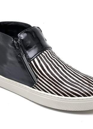 Tênis cano alto slip on feminino couro legítimo zebra