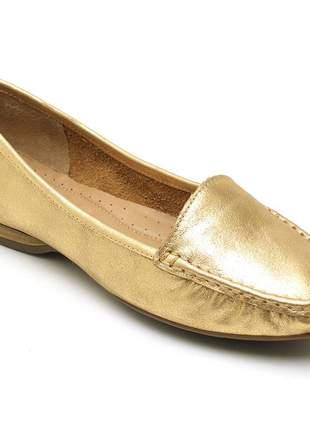 Mocassim feminino couro word ouro