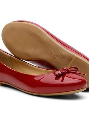 Sapatilha feminina oxford conforto verniz vermelha