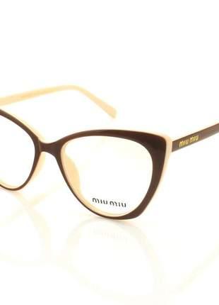 Armacao de óculos gatinho feminino miu miu mv0085 marrom e creme