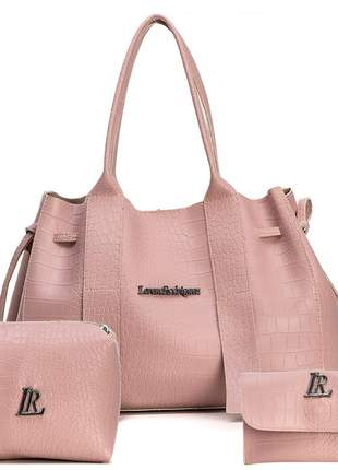 Kit bolsa e necessaire com carteira rosa