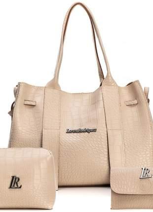 Kit bolsa e necessaire com carteira marfim