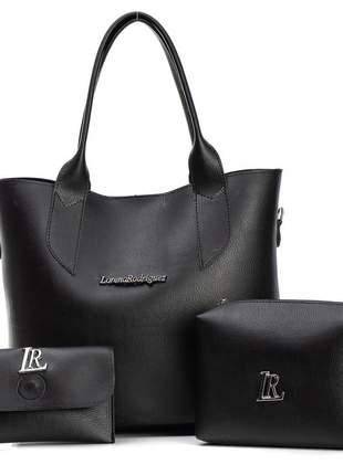 Kit bolsa e necessaire com carteira preta