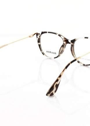 Armacao de óculos gatinho feminino miu miu 58589 onça
