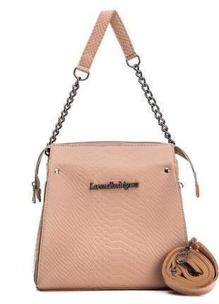 Bolsa feminina elegante alça de corrente e transversal rosa