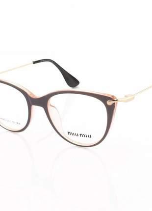 Armacao de óculos gatinho feminino miu miu 58589 lilas e rosa