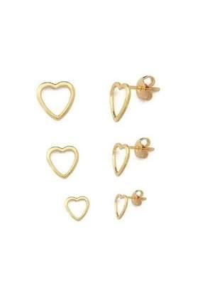 Brinco feminino trio coração banhado a ouro 18k