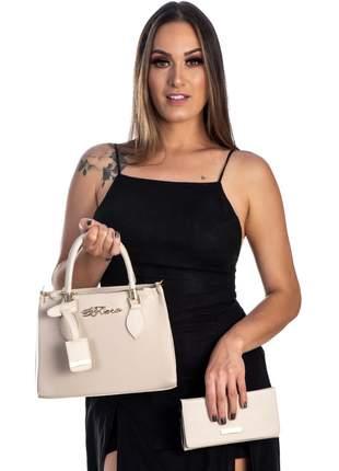 Bolsa kit 2 peças feminina metalasse marfim