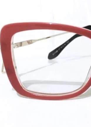 Oculos vermelho quadrado grande vermelho detalhe na haste