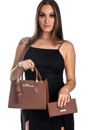Bolsa kit 2 peças feminina metalasse marron
