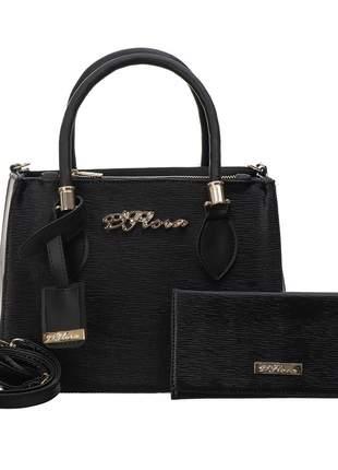 Bolsa kit 2 peças feminina metalasse preta