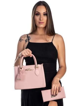 Bolsa kit 2 peças feminina metalasse rosa