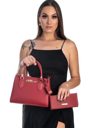 Bolsa kit 2 peças feminina metalasse  vermelha