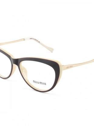 Armacao de óculos gatinho feminino miu miu vmu 01m marrom e creme