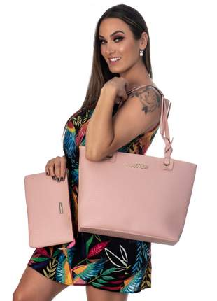 Kit bolsa feminina 3 peças metalasse rosa