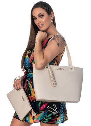 Kit bolsa feminina 3 peças metalasse marfim