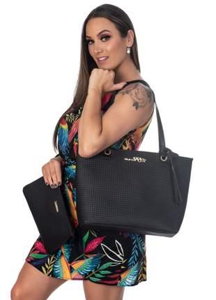 Kit bolsa feminina 3 peças metalasse preta