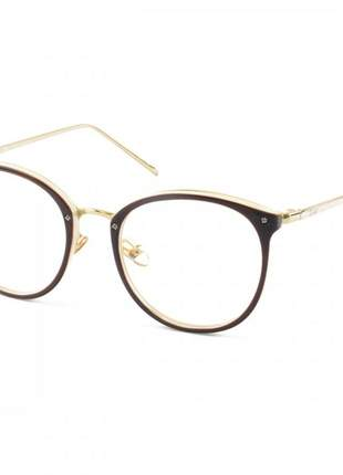 Armacao de óculos redonda feminina dior 2334 cd marrom e creme