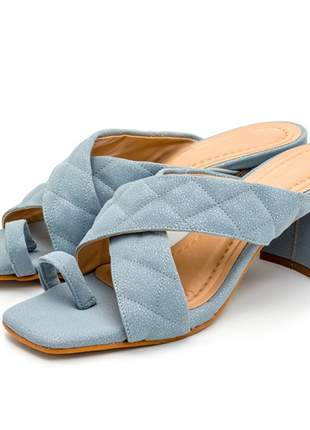 Sandália tamanco feminina salto baixo retro bico quadrado
