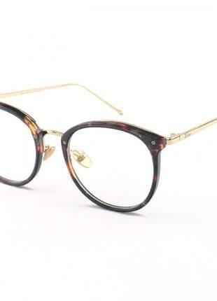 Armacao de óculos redonda feminina dior 2334 cd marrom tartaruga
