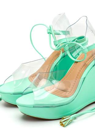 Sandália espadrille anabela cintilante metalizado com transparência