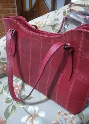 Bolsa de couro legitimo artesanal ( patchwork ) colorida