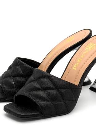 Sandália tamanco salto taça transparente bico quadrado em craquelê.