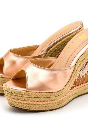 Sandália conforto tamanco anabela salto alto em napa